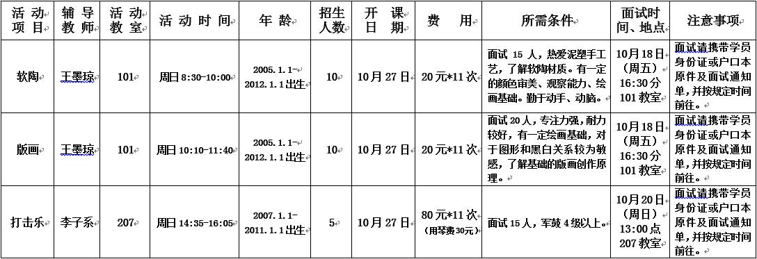 崇文少年宫2019年10月至2020年1月培训班(插班生)招生简章